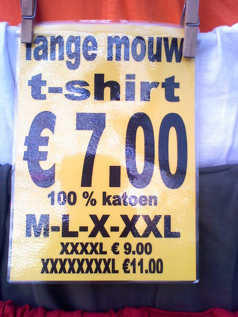 Advertisement for large T-shirts in Amsterdam