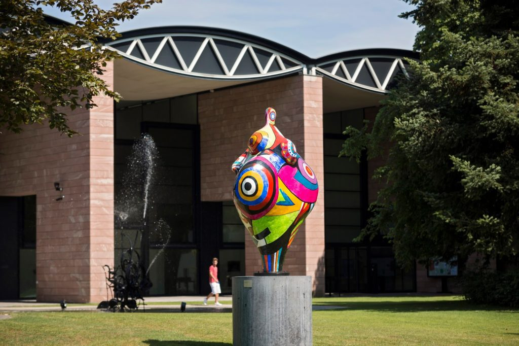 Sculpture Gwendolyn by Niki de Saint Phalle, Tinguely's second wife, at the Tinguely museum in Basel.