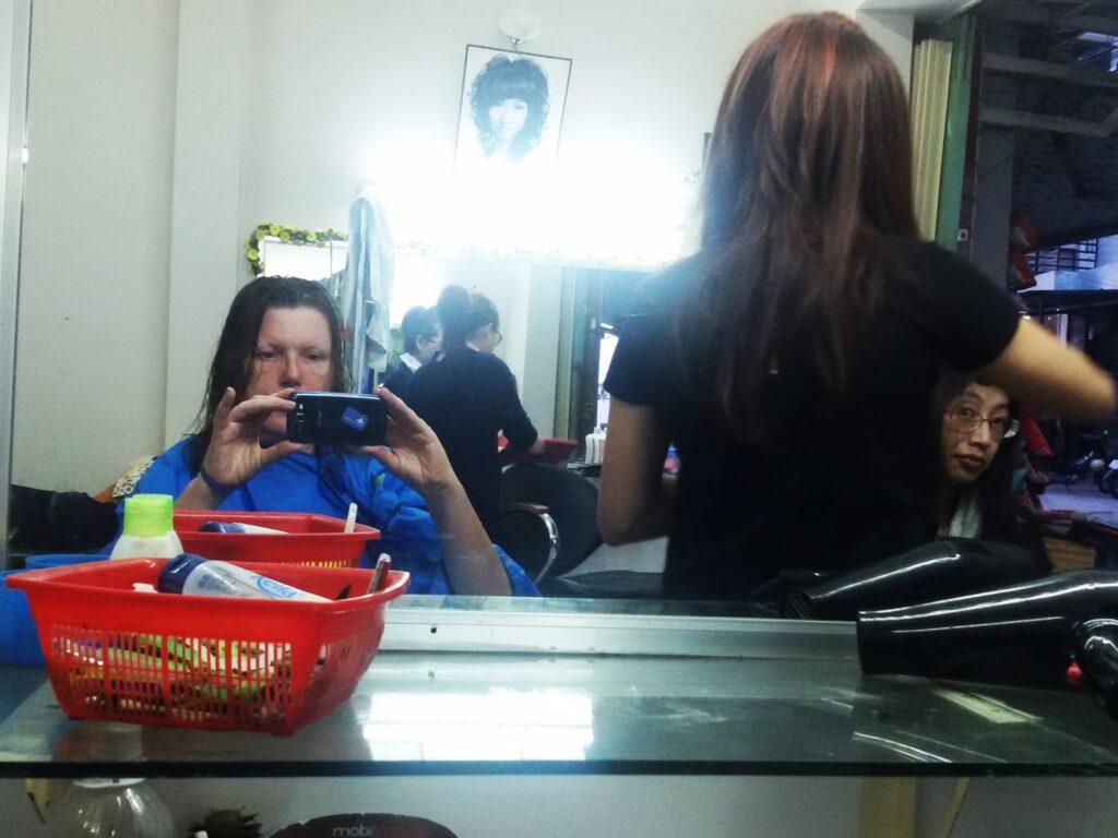 At a hairdresser in Viet Nam