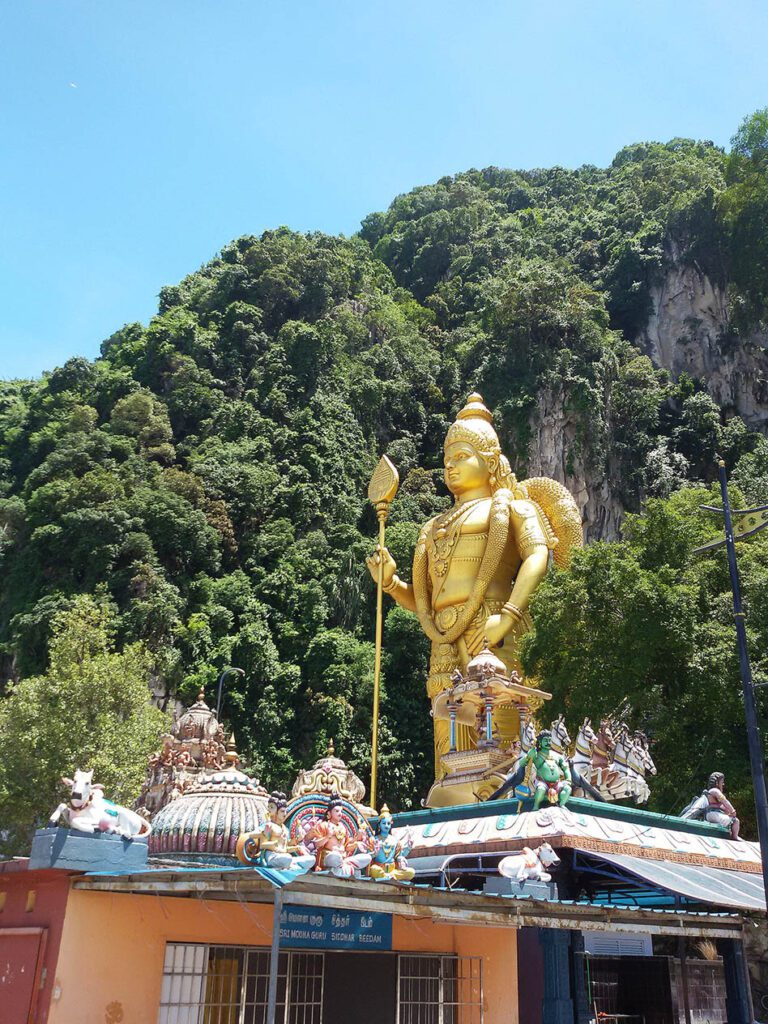 Lord Murugan Statue in front of the Batu Caves in the district of Selangor.