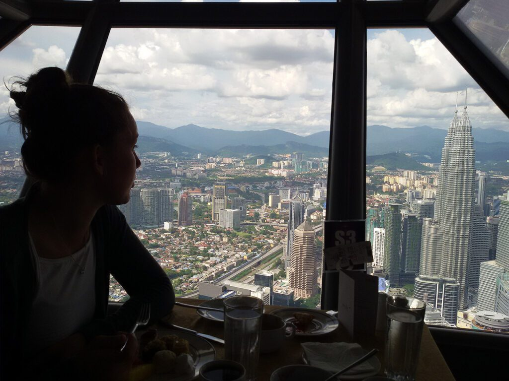 At the 360 degree restaurant on the KL tower