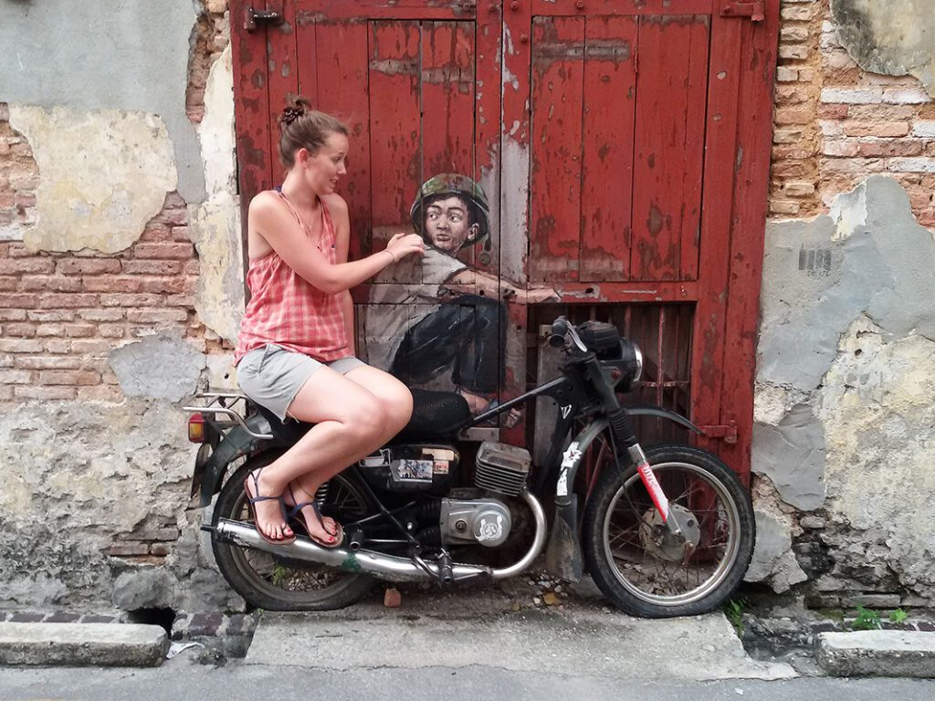 Streetart by Ernst Zacharevic in  George Town on Pulau Penang