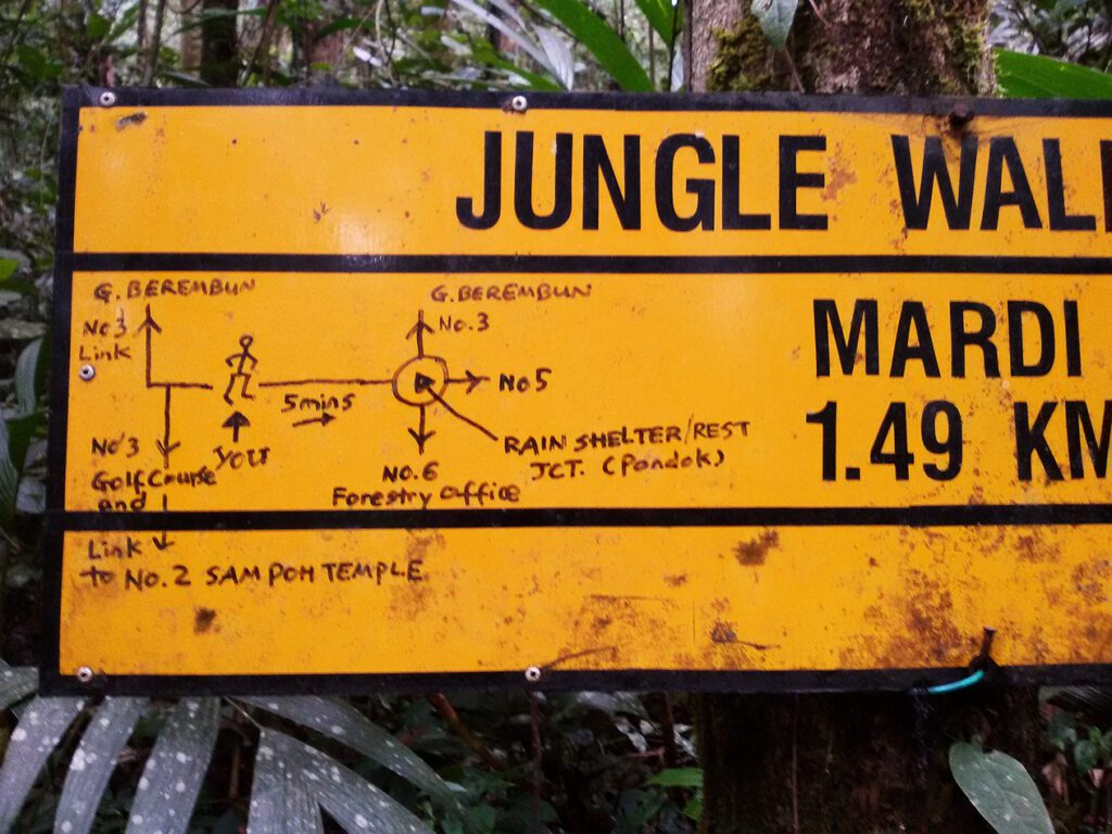 Tourist-made map on a sign in the Cameron Highlands