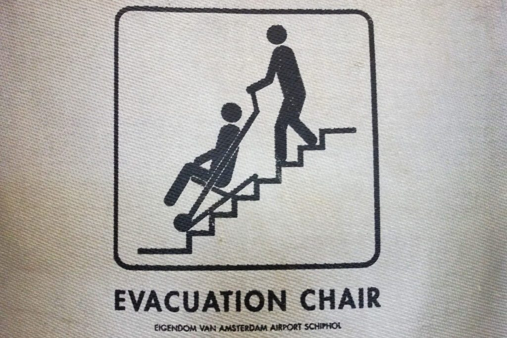 Evacuation Chair symbol at an Airport