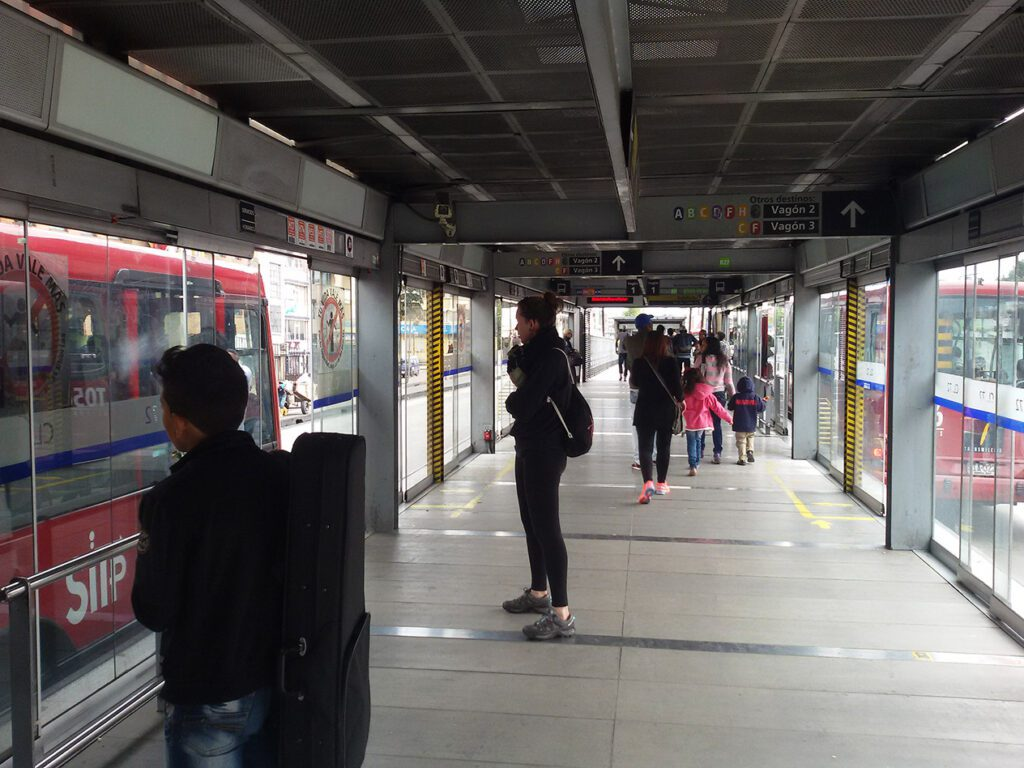 The TransMilenio - almost as fast as comfortable as a subway.
