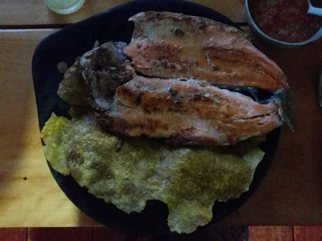 """trucha dorada"" with ""patacon gigante"" in Salento"