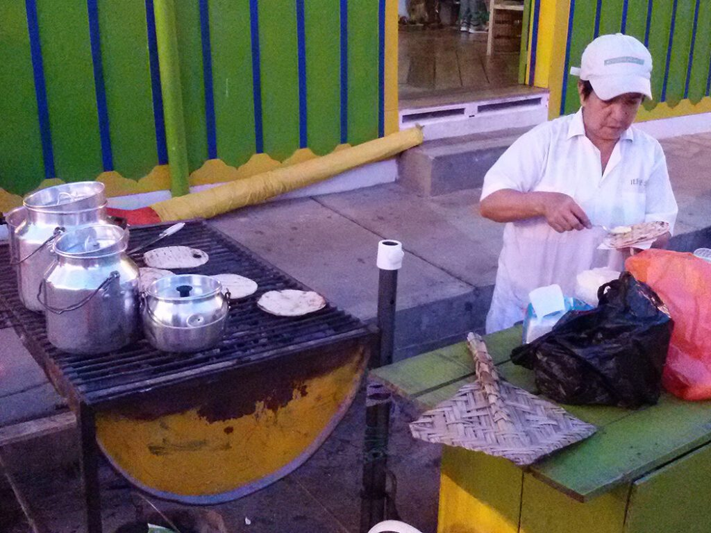 Lady selling Arepas in Salento
