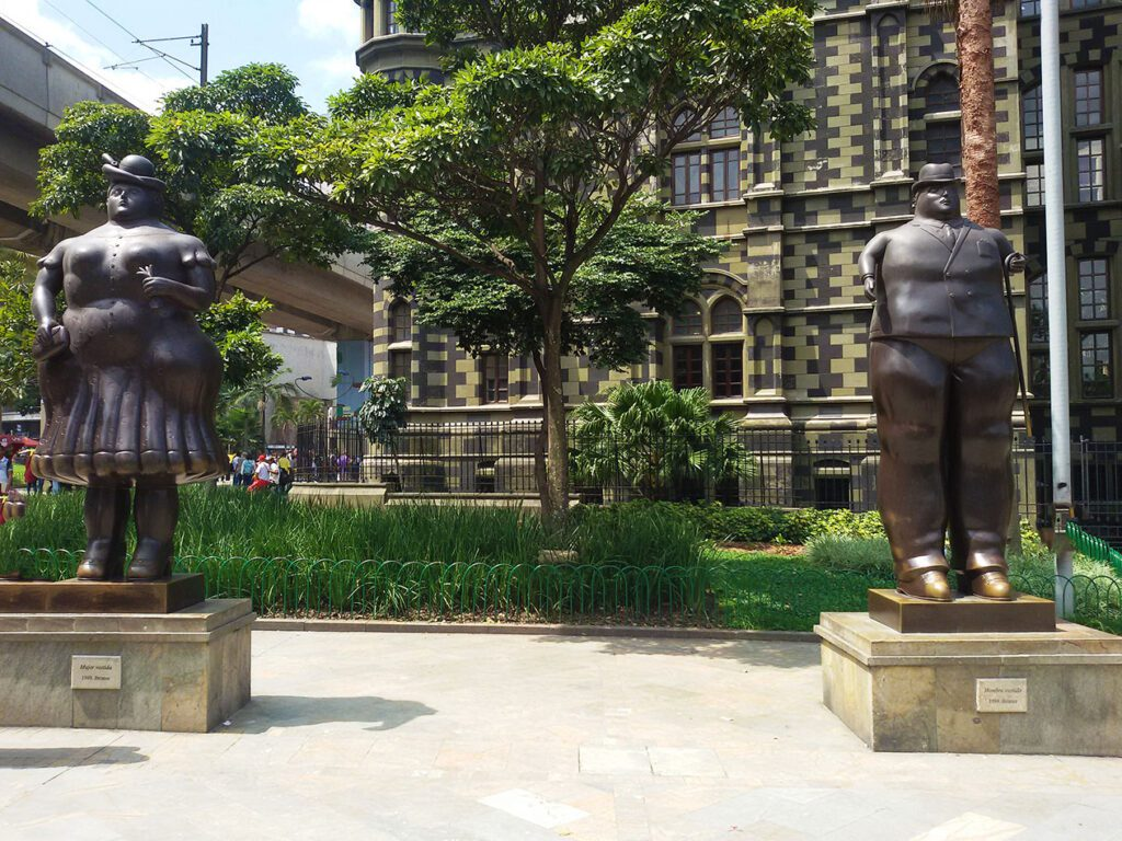 Sculptures at the Parque Botero in Medellín