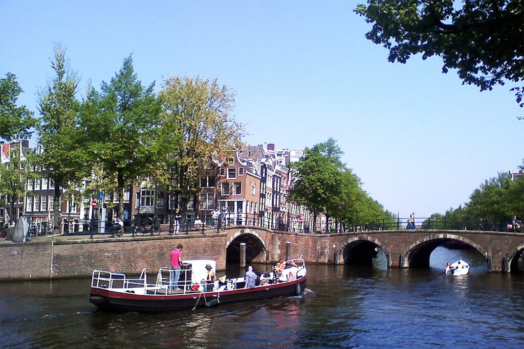 Boat on a Gracht in Amsterdam