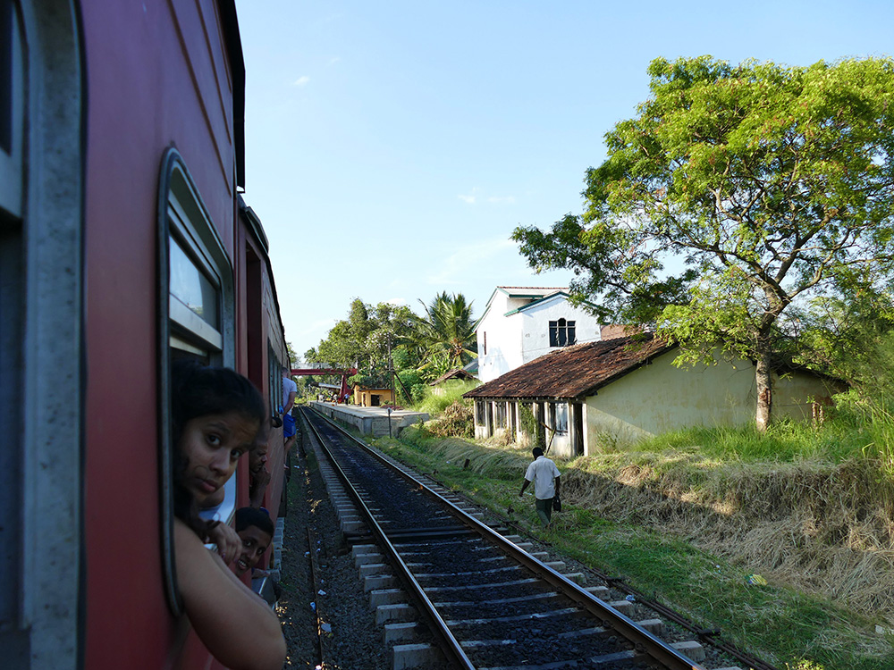 People on a train from Colombo to Anuradhapure in Sri Lanka