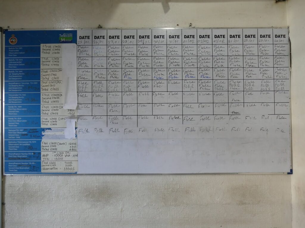 Time table at the train station in Colombo Sri Lanka
