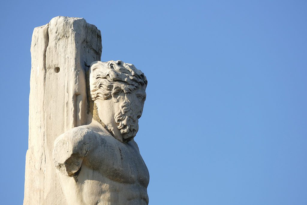 Statue of Triton in the Odeon of Agrippa at the Ancient Agora of Athens Greece