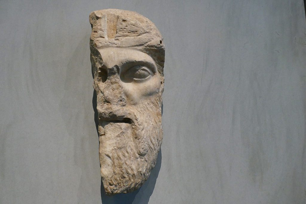 Mask of Dionysos at the Acropolis Museum in Athens