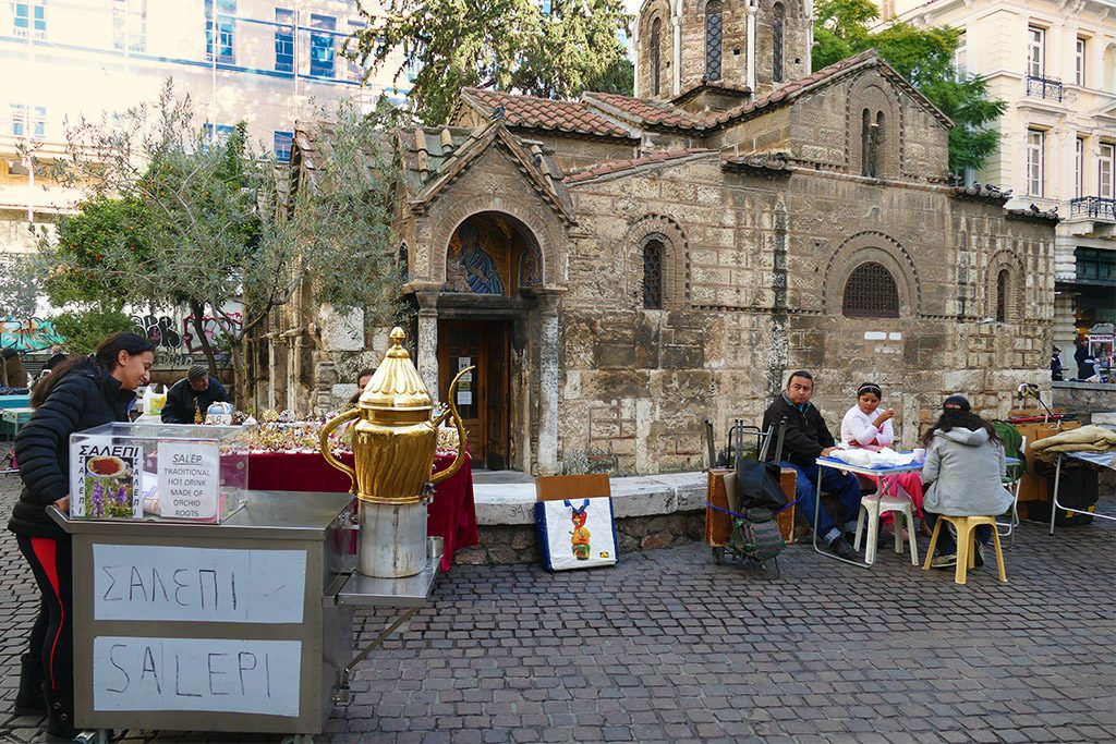 Kapnikareas Square with the old Byzantine church.