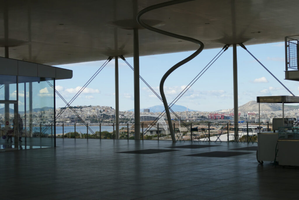 View from the terrace of the SNFCC in Athens
