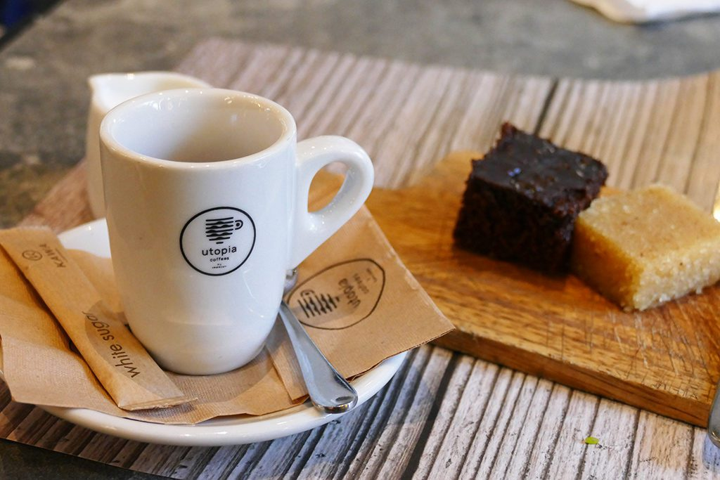 Coffee and cake at a restaurant in Athens