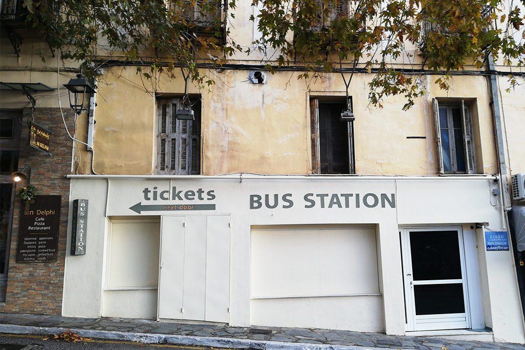 Bus Station in Delphi Greece