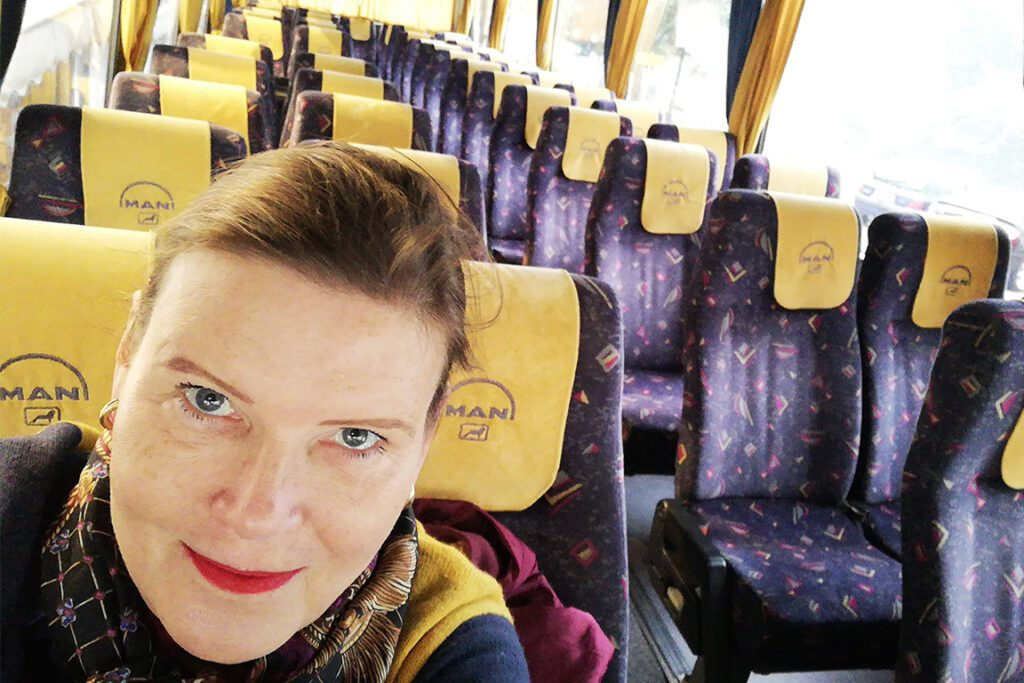 Renata Green on the bus from Delphi to Meteora in Greece