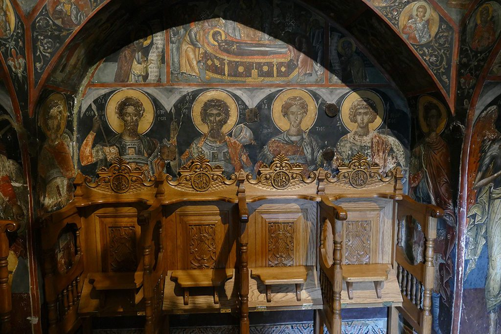 Frescoes at the Holy Monastery of Saint Nicholas Anapafsas at Meteora, Greece