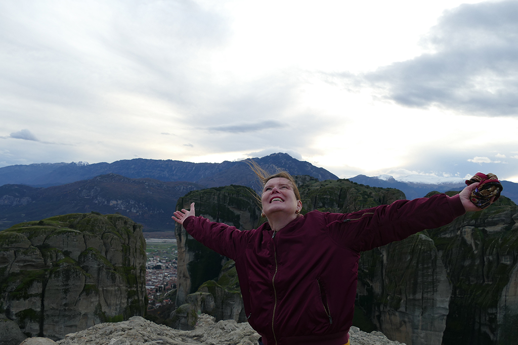 Renata Green on the Observation Platform in Meteora