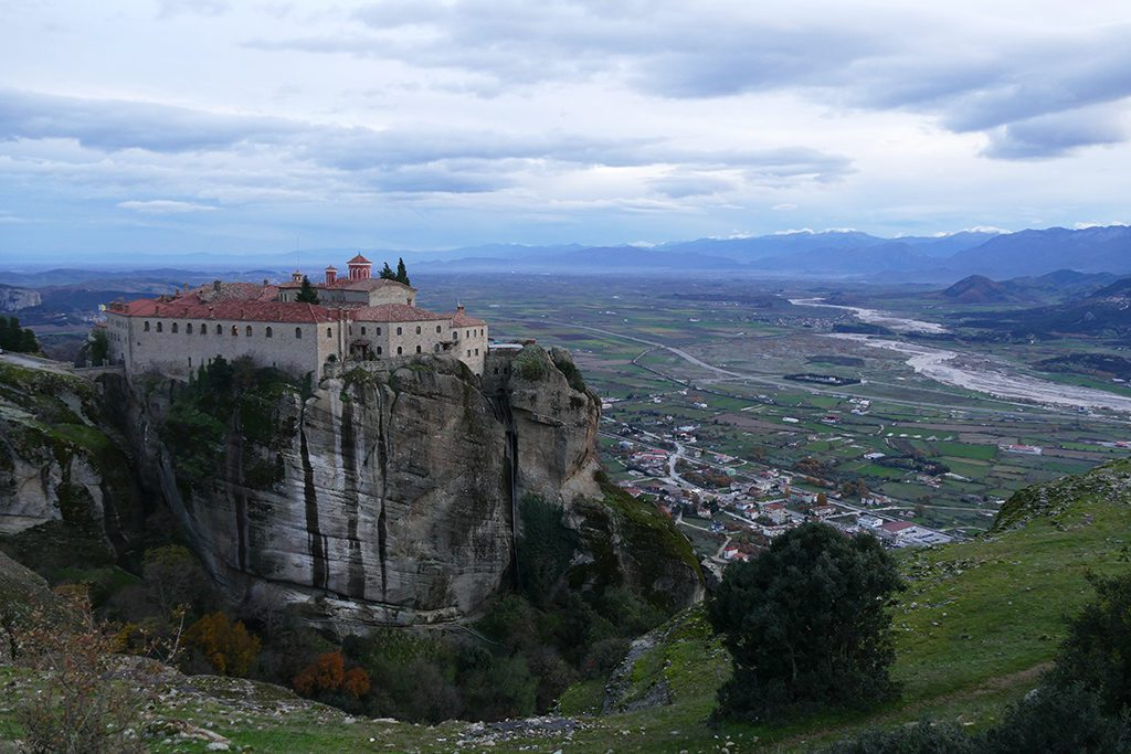 View of the Great Monastry and Kalambaka in Meteora