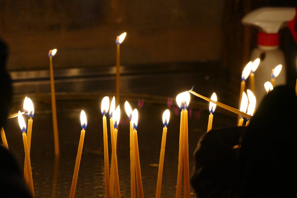 Candles at the Monastery of Varlaam, Meteora, Greece