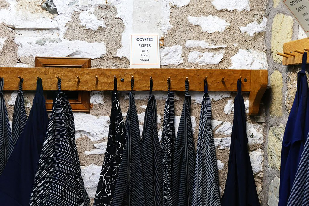 wrap skirts a the nunnery of st. stephens in meteora