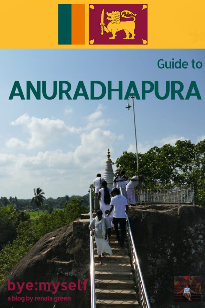 Faithful at Auradhapura in Sri Lanka. Pinnable Picture for the Post on Anuradhapura and Mihintale.