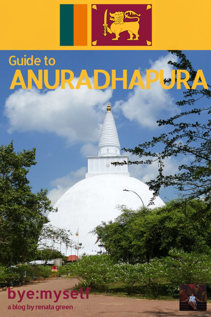 Ruwanwelisaya Dagaba at Anuradhapura in Sri Lanka. Pinnable Picture for the Post on Anuradhapura and Mihintale.