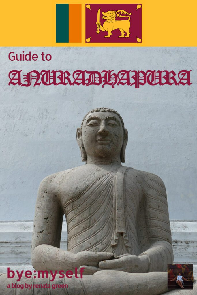 Buddha Statue at Anuradhapura in Sri Lanka. Pinnable Picture for the Post on Anuradhapura and Mihintale.