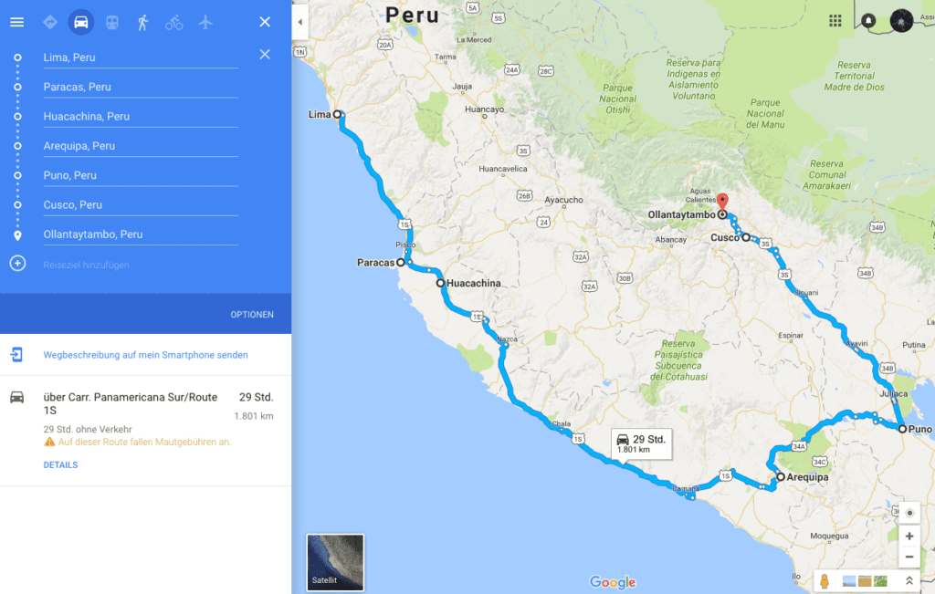 map of peru - made with google maps