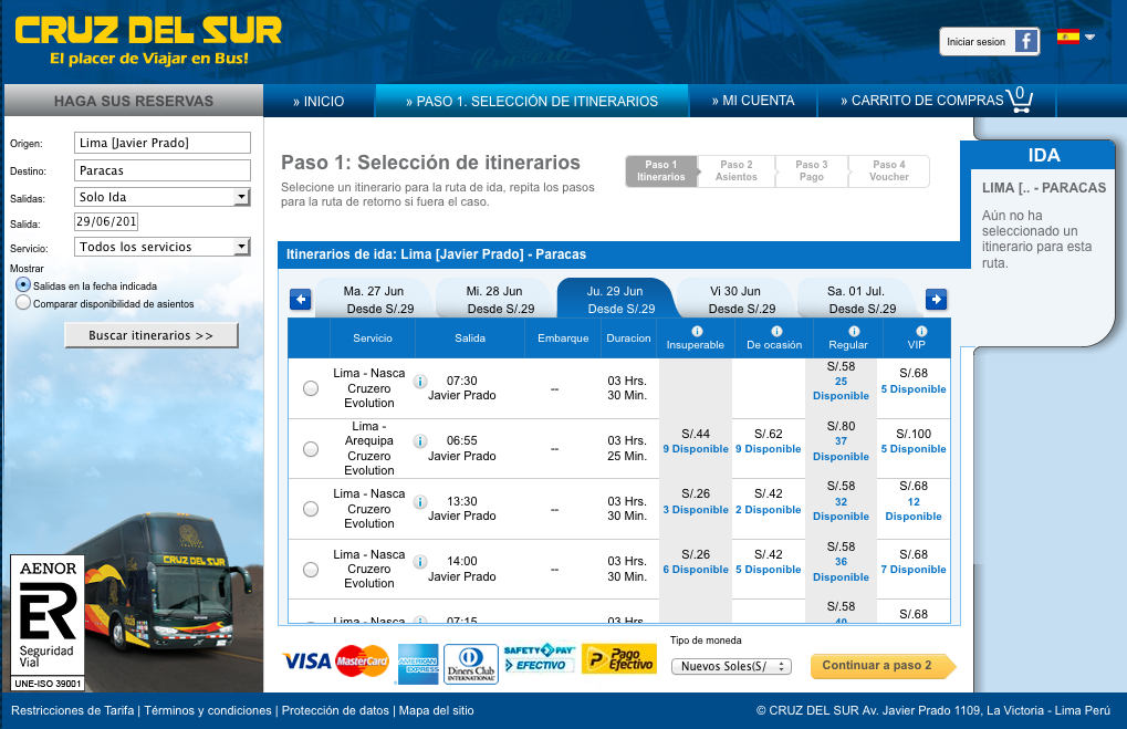screenshot of cruz del sur timetable