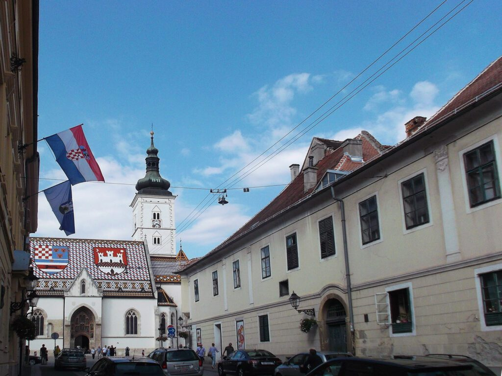 Street leading to St. Mark's church in Zagreb, landmark to be visited during 24 hours in Zagreb