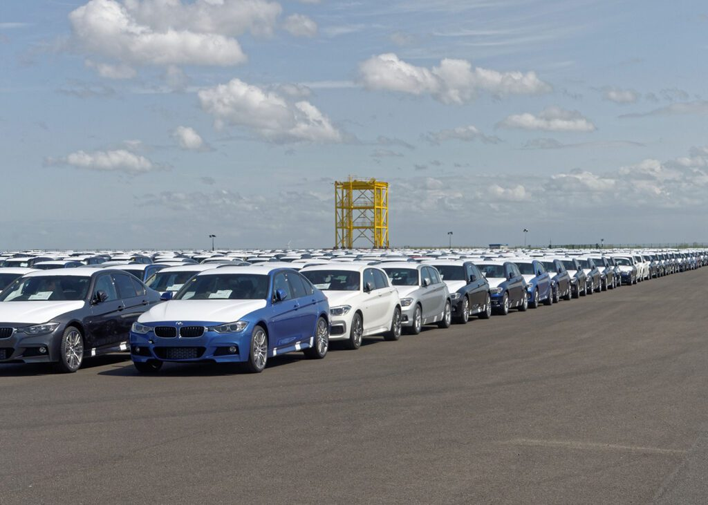 Cars at the Industrial harbor of Cuxhaven