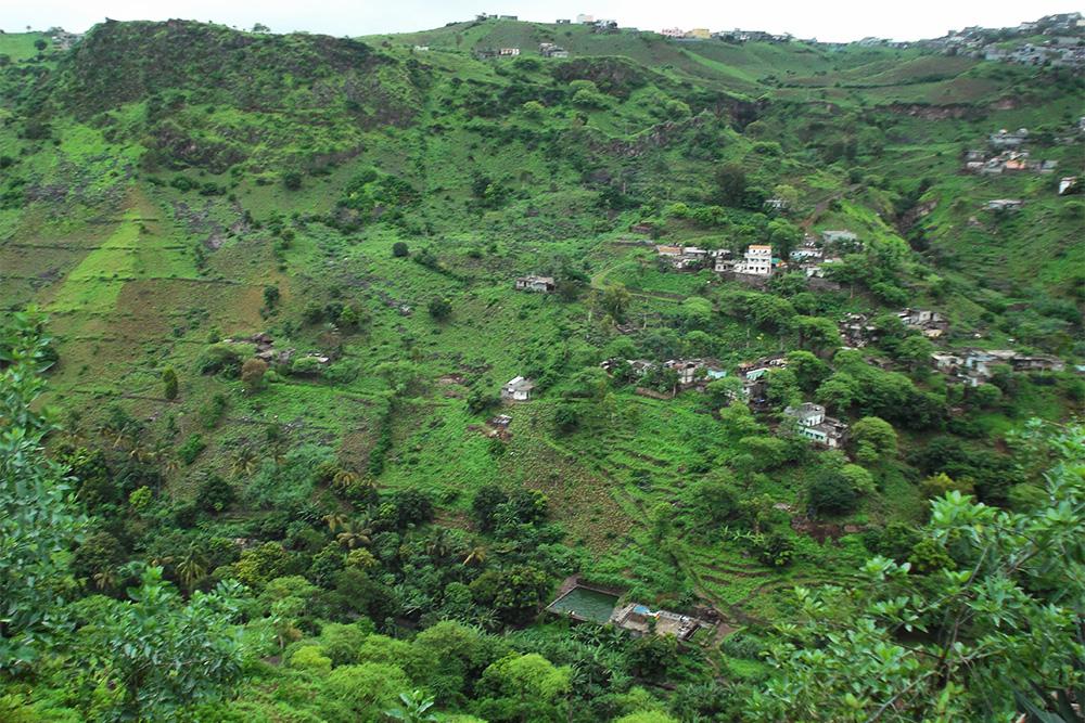 Green hills of Boa Entrada on the Island of Santiago