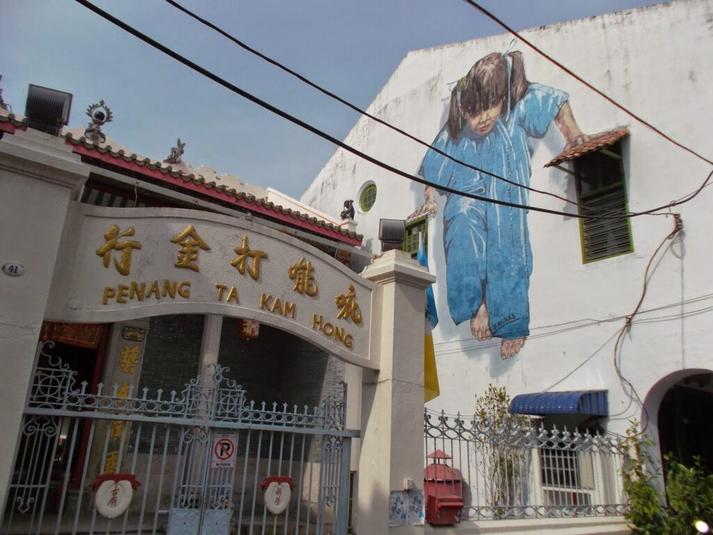 Streetart by Ernest Zacharevic in  George Town on Pulau Penang
