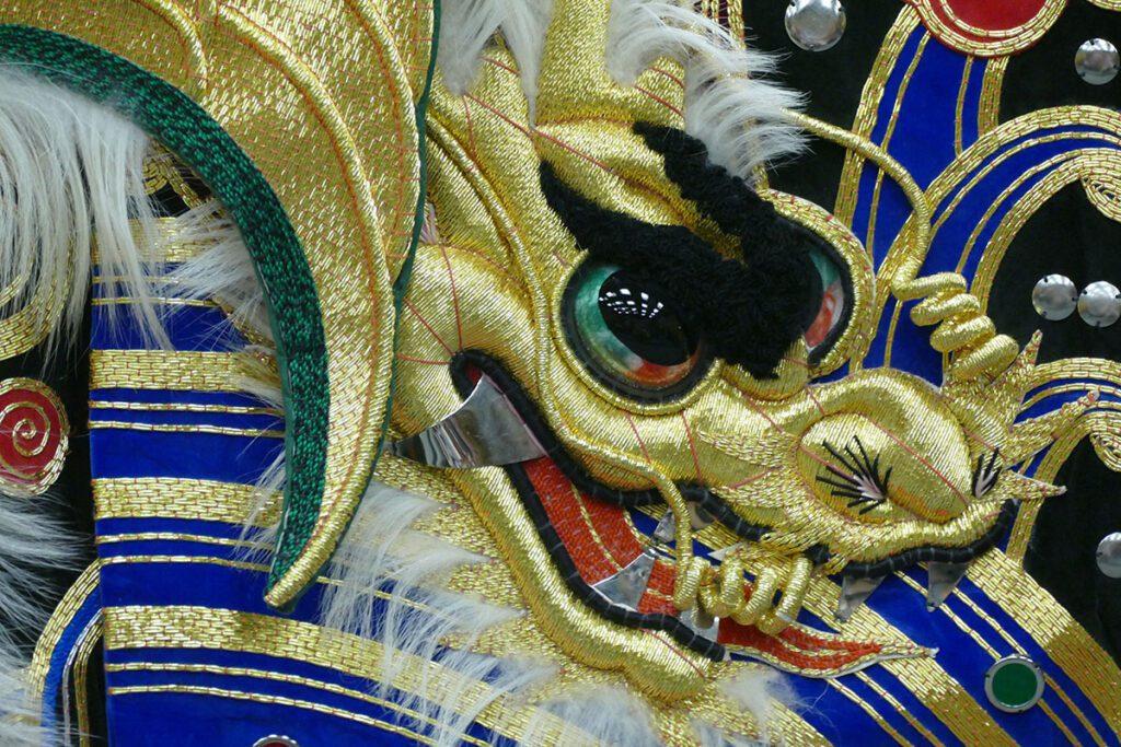 Detail of one of the Kagura cloaks.