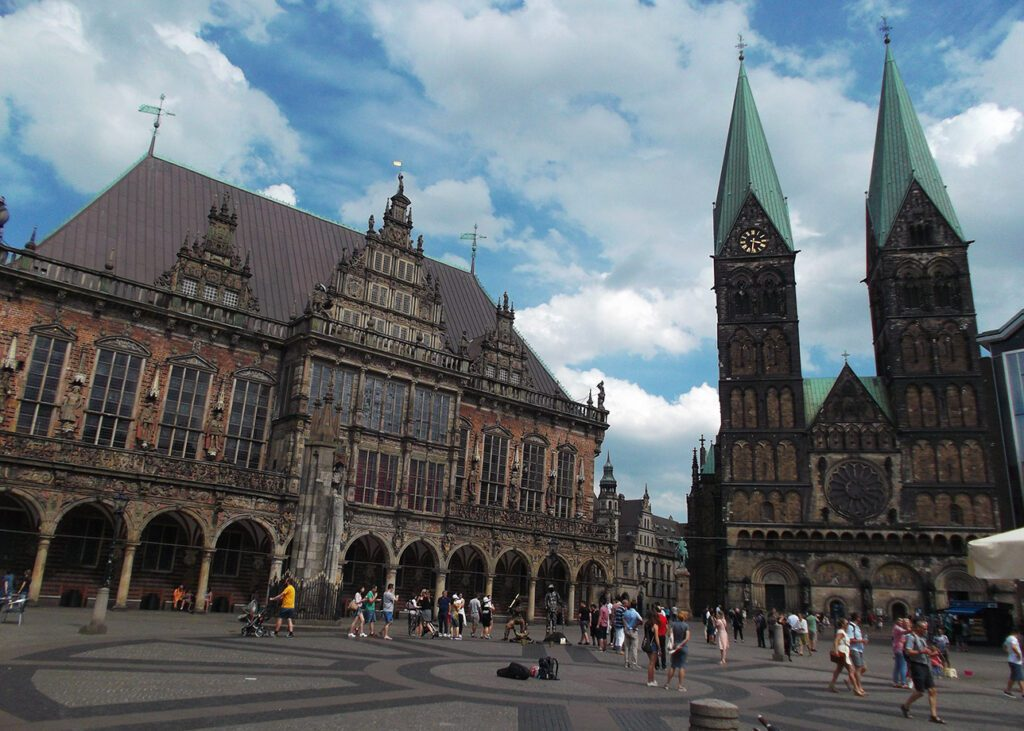 City center of Bremen, Germany. Bremen was a city from where people were coming to America