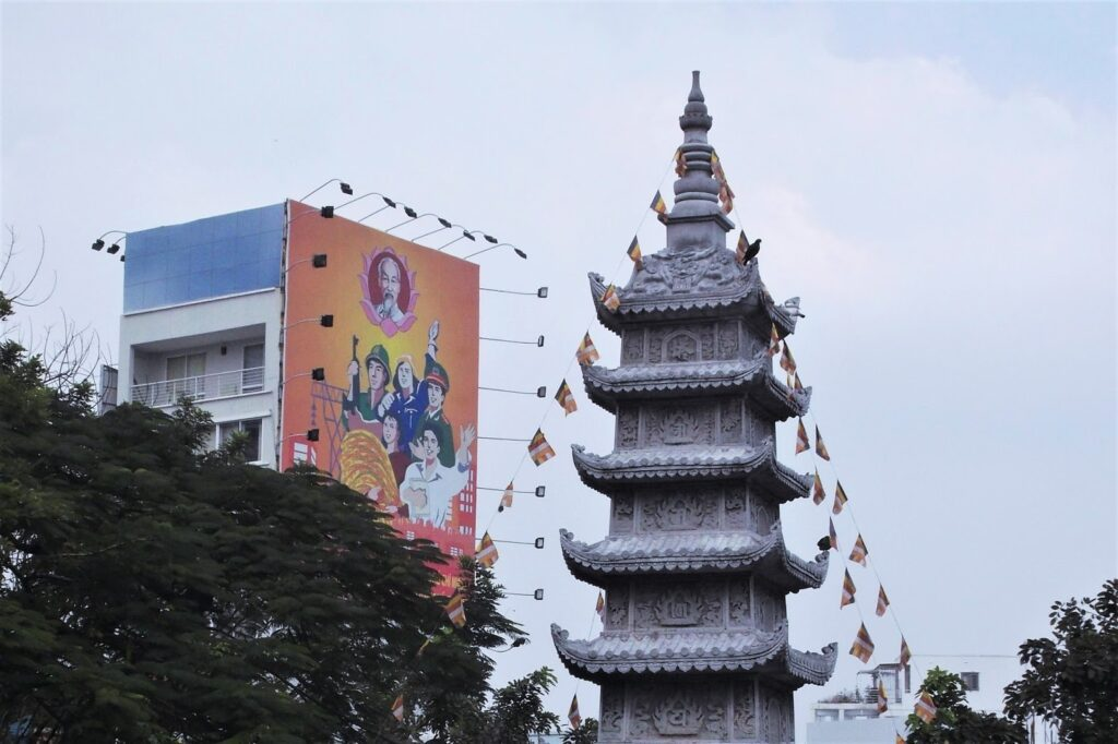 Communist propaganda and a Buddhist Temple