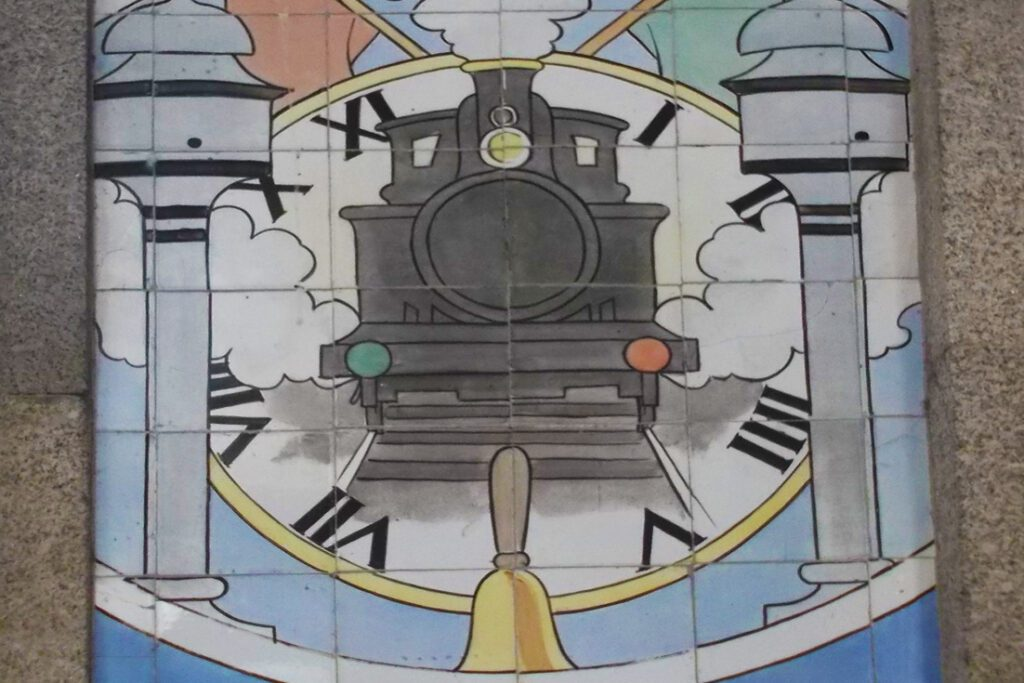 Painted tiles at the São Bento station