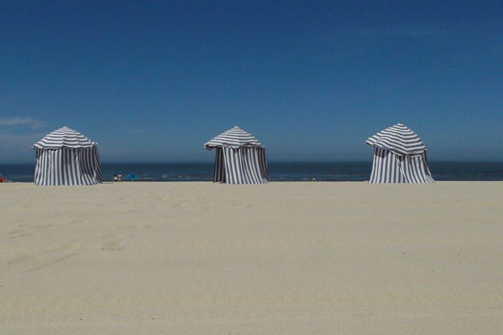 Beach Tents at Figueira da Foz Portugal