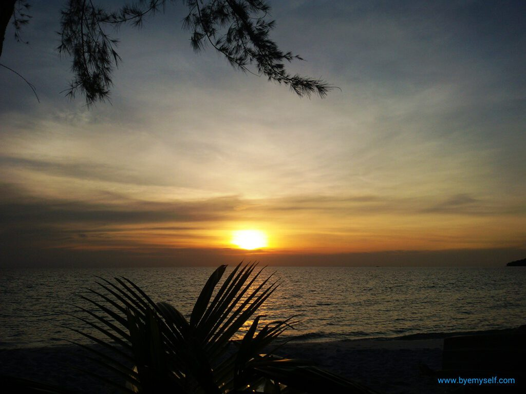 Sunset over Sok San Beach on Koh Rong.