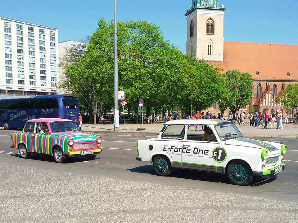 Trabi cars in front of the Marienkirche. A fun activity when in Berlin