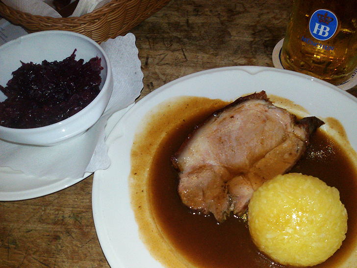 Pork roast with dumplings and red cabbage at the Hofbräuhaus München Munich