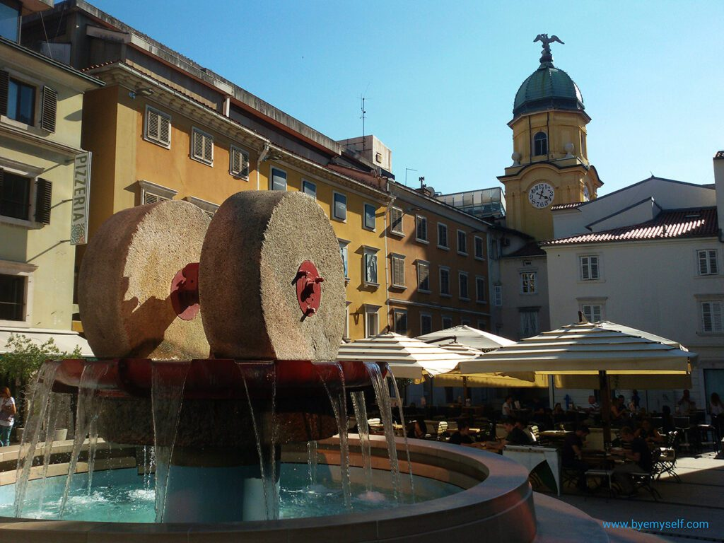 Trg Ivana Koblera, the Kobler square with the unusual fountain in Rijeka - Istria
