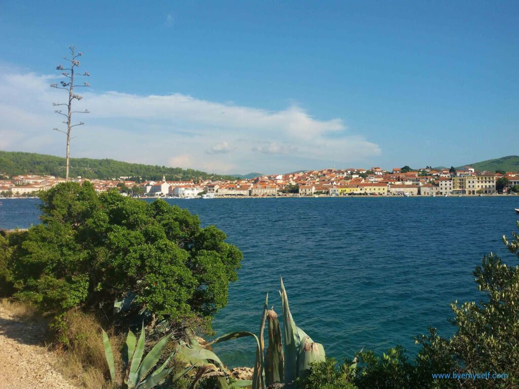 View of Korčula town from the Uvala Plitvine bay.