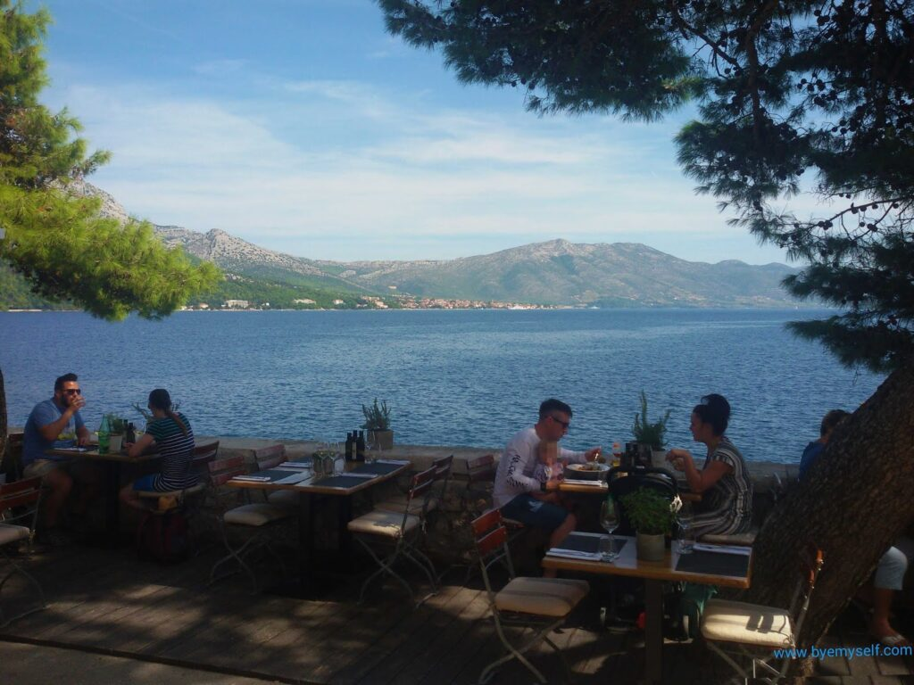 Open Air Restaurant on the Island of Korcula on my Bus Road Trip through Croatia