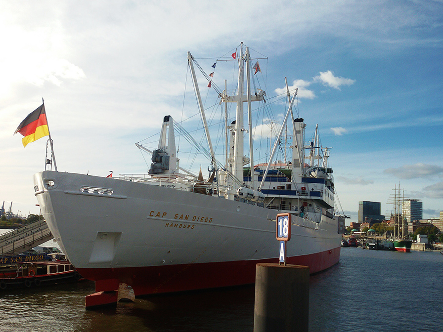 Cap San Diego - a museum ship housing different exhibitions since 1989, also one on Migration from North German Ports to the Americas