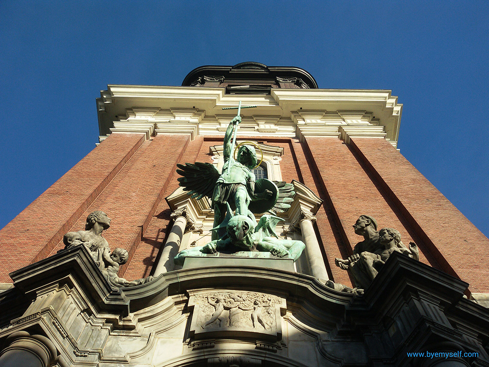St. Michael on top of the entrance to the Michaeliskirche in Hamburg