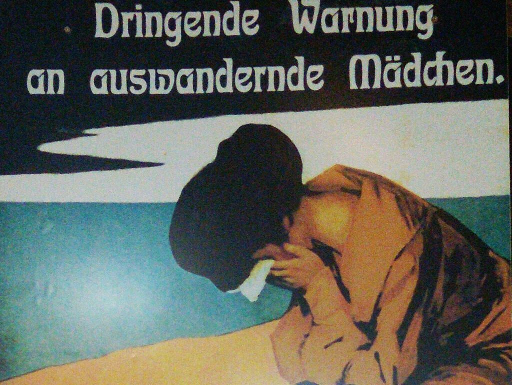 Emigration Placard displayed on the Cap San Diego warning girls coming to America
